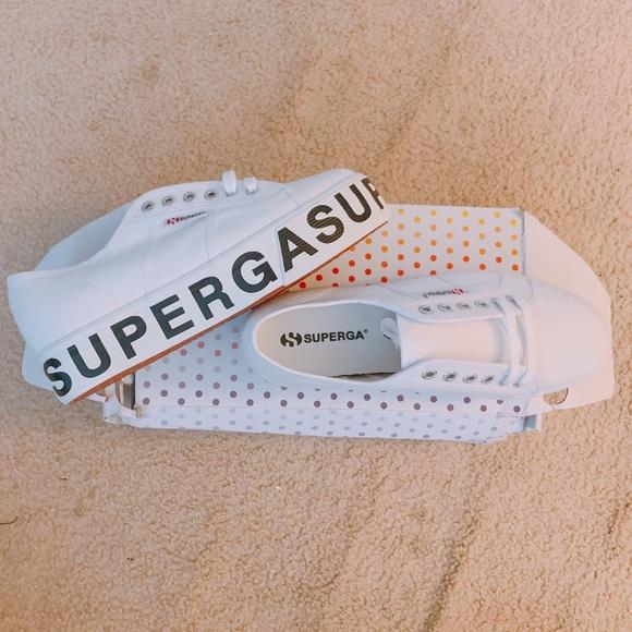 Superga Shoes   White Platform Logo S